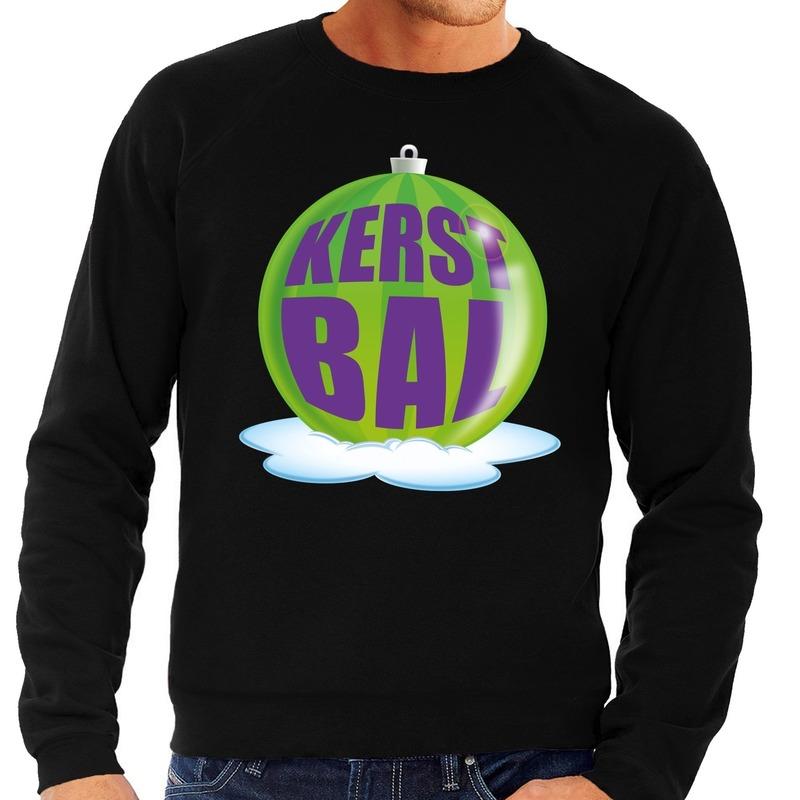 Foute feest kerst sweater met groene kerstbal op zwarte sweater voor heren XL (54) Zwart