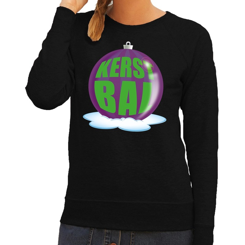 Foute feest kerst sweater met paarse kerstbal op zwarte sweater voor dames XS (34) Zwart