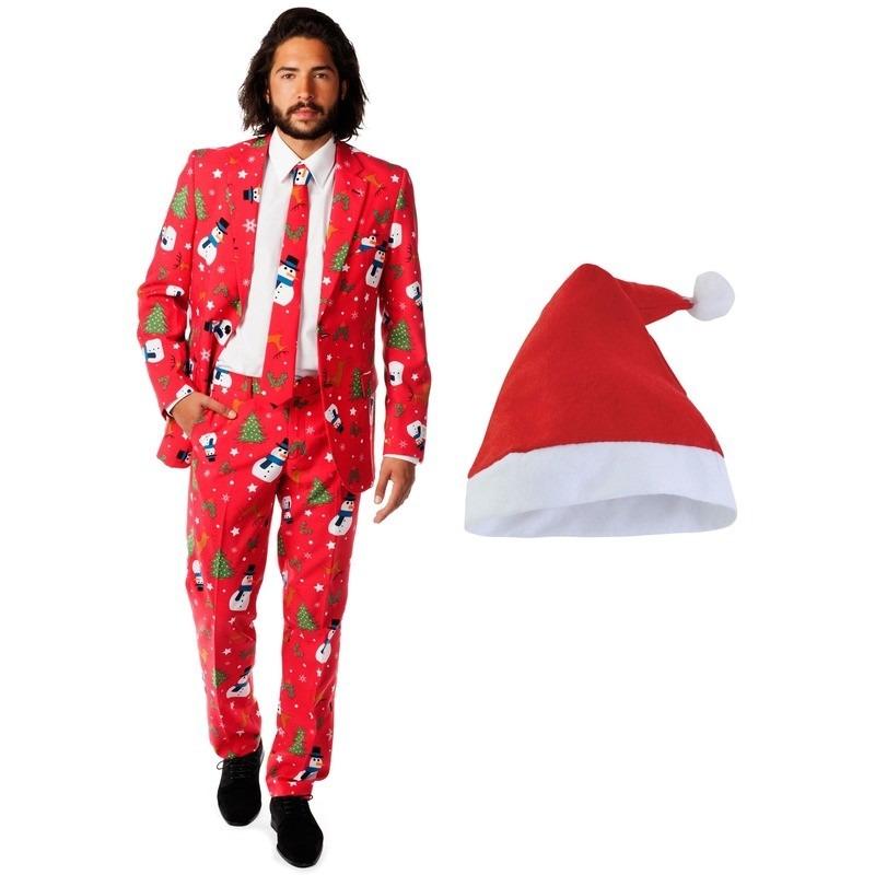 Foute Kerst Opposuits pakken/kostuums met Kerstmuts - maat 54 (2XL) voor heren Christmaster M Rood