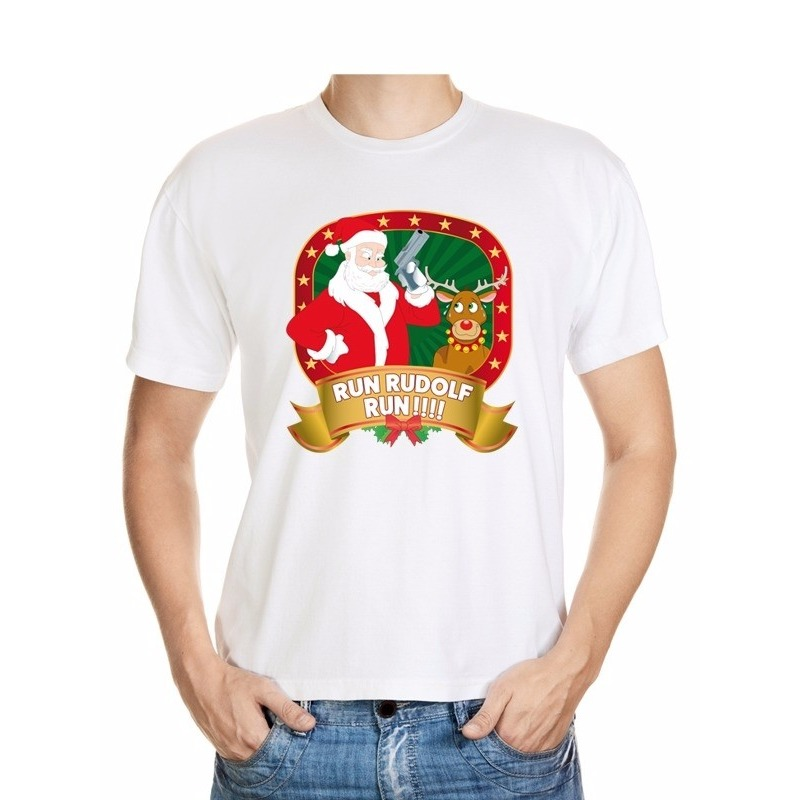 Foute Kerst shirt run Rudolf heren M Multi