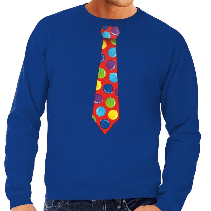 Foute kerst sweater met kerstballen stropdas blauw voor heren S (48) Blauw