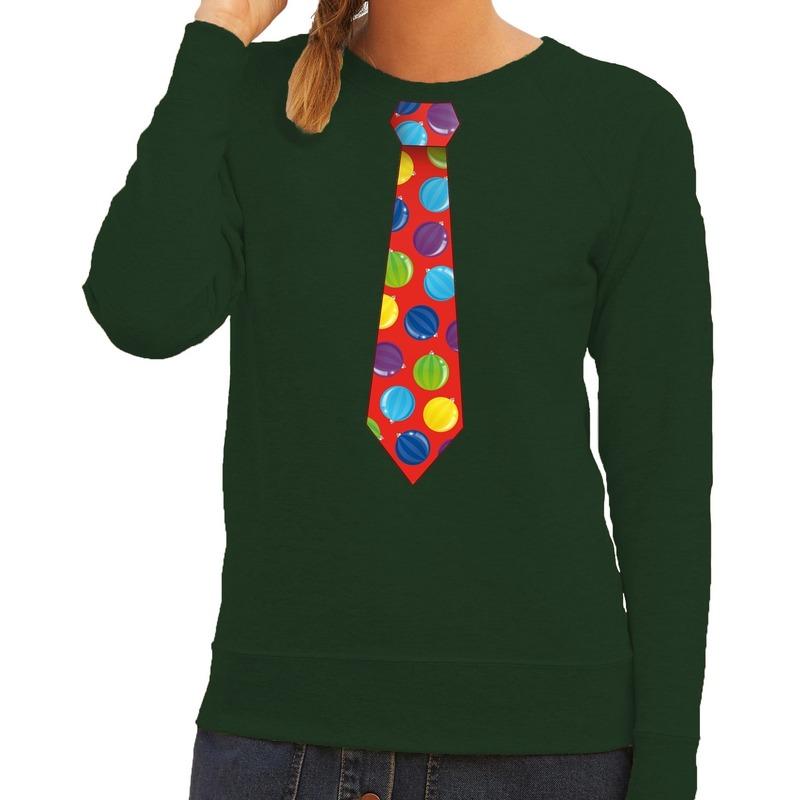 Foute kerst sweater met kerstballen stropdas groen voor dames M (38) Groen