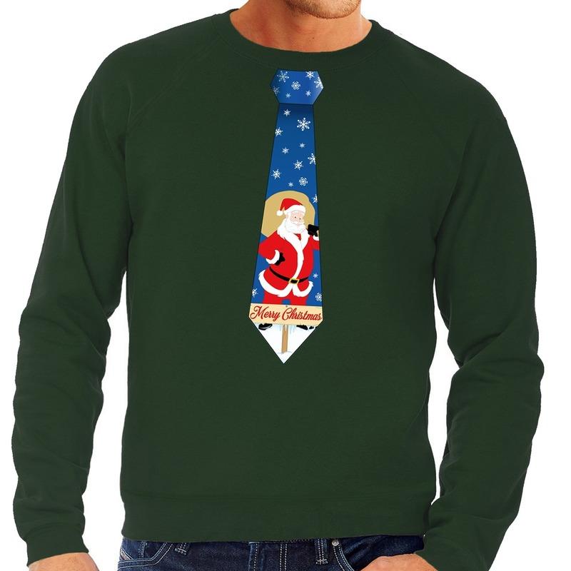 Foute kerst sweater met kerstman stropdas groen voor heren 2XL (56) Groen