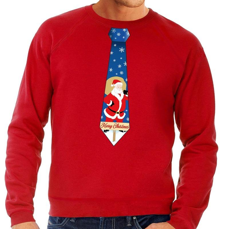 Foute kerst sweater met kerstman stropdas rood voor heren S (48) Rood