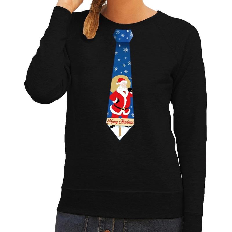 Foute kerst sweater met kerstman stropdas zwart voor dames S (36) Zwart