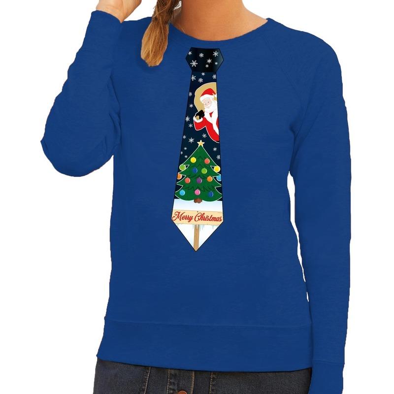 Foute kerst sweater met kerstmis stropdas blauw voor dames S (36) -