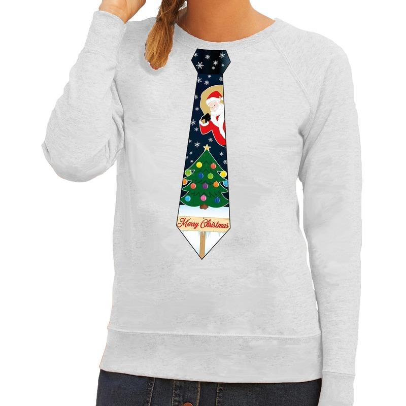 Foute kerst sweater met kerstmis stropdas grijs voor dames S (36) -
