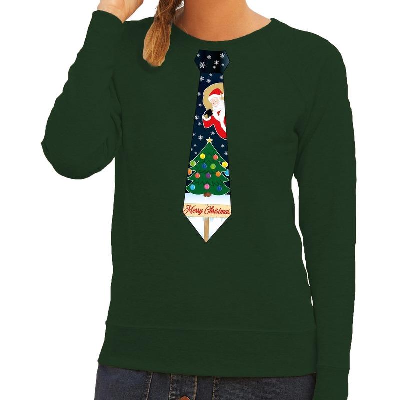 Foute kerst sweater met kerstmis stropdas groen voor dames M (38) Groen
