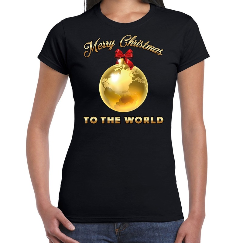 Foute kerstborrel t-shirt - kerstshirt Merry Christmas to the world op zwart dames L - kerst t-shirt