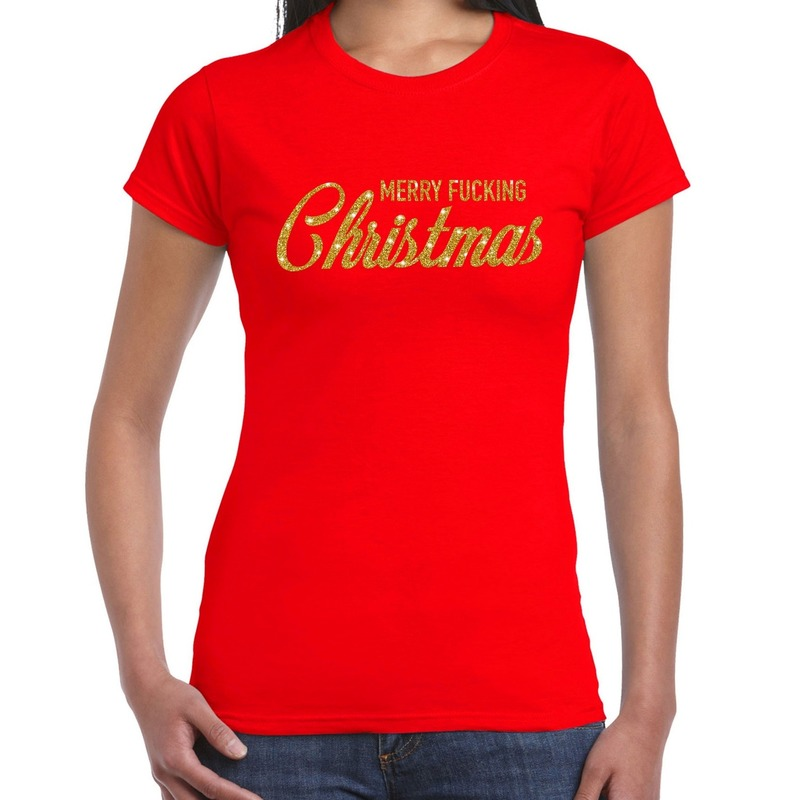 Foute kerstborrel t-shirt - kerstshirt Merry Fucking Christmas glitter goud op rood dames S -
