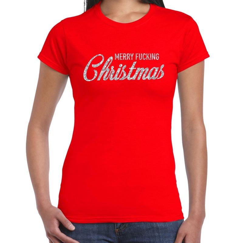 Foute kerstborrel t-shirt - kerstshirt Merry Fucking Christmas glitter zilver op rood dames XS -