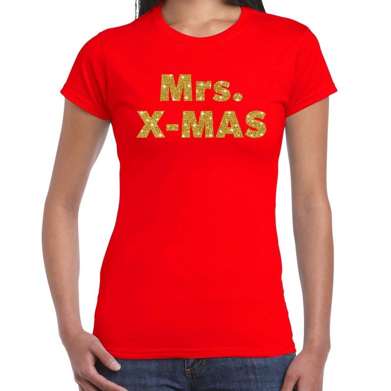 Foute kerstborrel t-shirt - kerstshirt mrs x-mas glitter goud op rood dames XL -