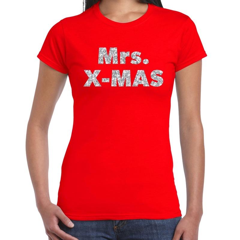 Foute kerstborrel t-shirt - kerstshirt mrs x-mas glitter zilver op rood dames XS - kerst t-shirts