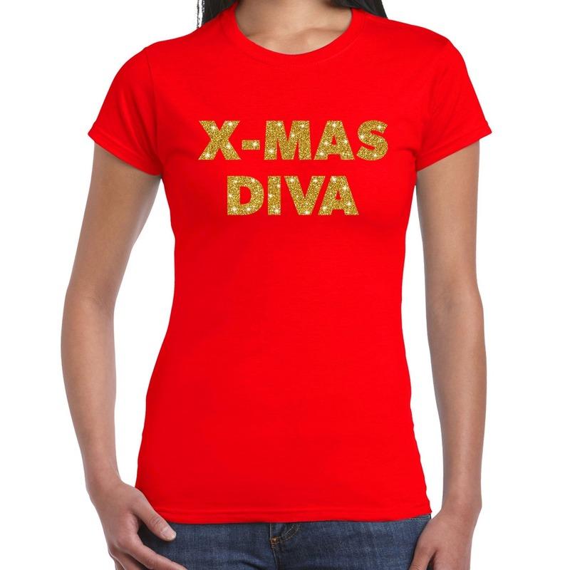 Foute kerstborrel t-shirt - kerstshirt x-mas diva glitter goud op rood dames S Rood