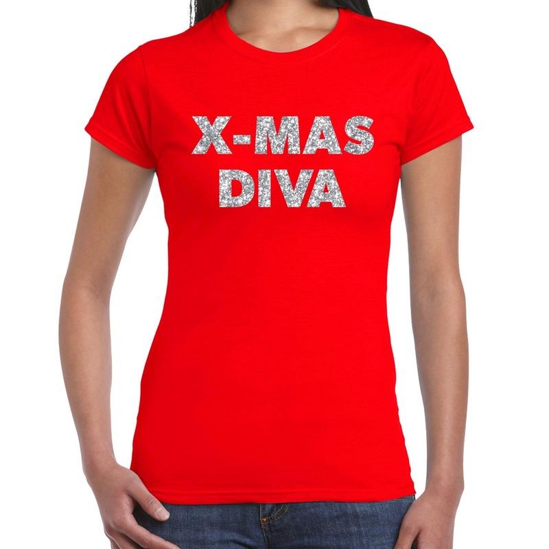 Foute kerstborrel t-shirt - kerstshirt x-mas diva glitter zilver op rood dames XL - kerst t-shirts