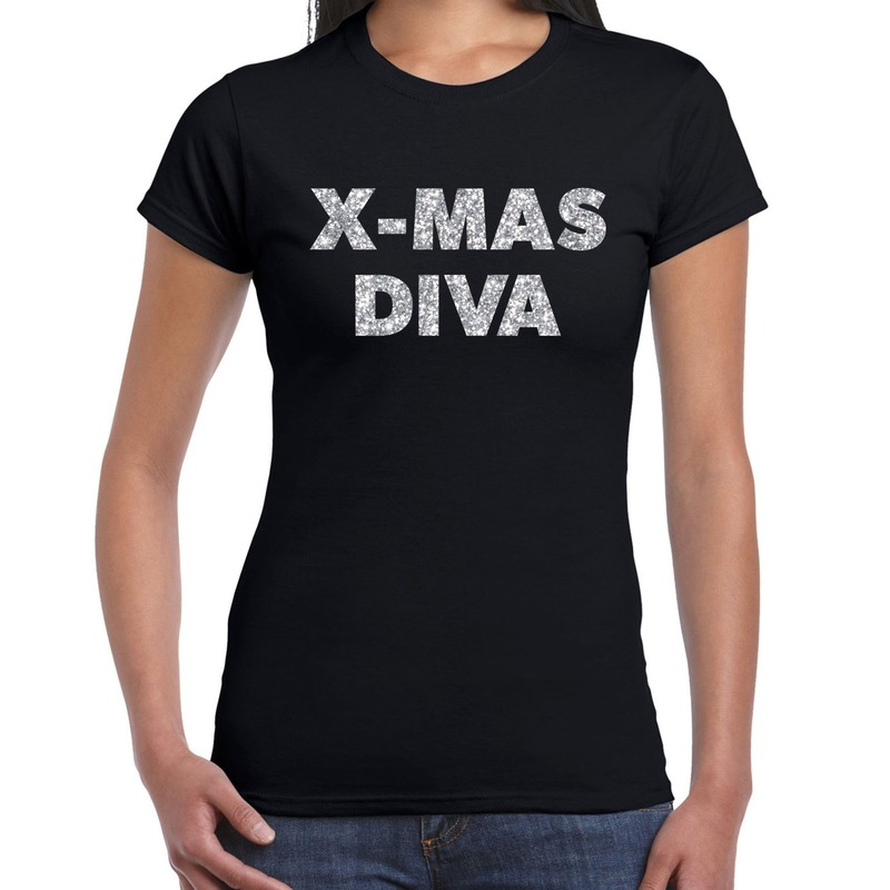 Foute kerstborrel t-shirt - kerstshirt x-mas diva glitter zilver op zwart dames S - kerst t-shirts