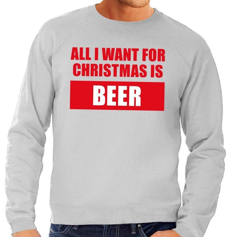 Foute kerstborrel trui grijs All I Want Is Beer heren L (52) Grijs