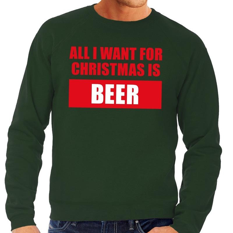 Foute kerstborrel trui groen All I Want Is Beer heren M (50) -
