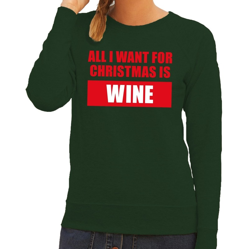 Foute kerstborrel trui groen All I Want Is Wine dames M (38) Groen