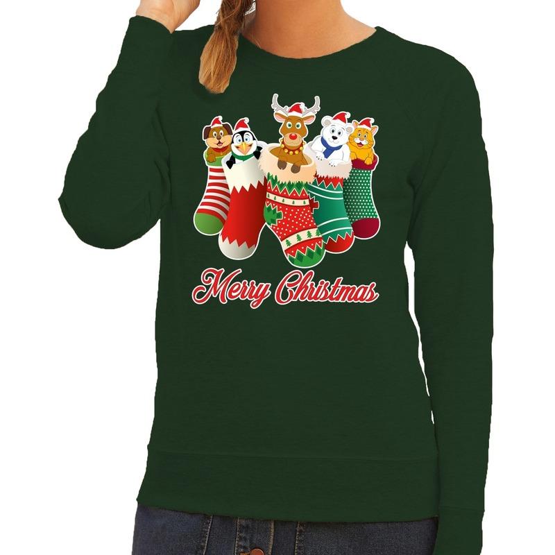 Foute kerstborrel trui groen kerstsokken met diertjes voor dames L (40) Groen