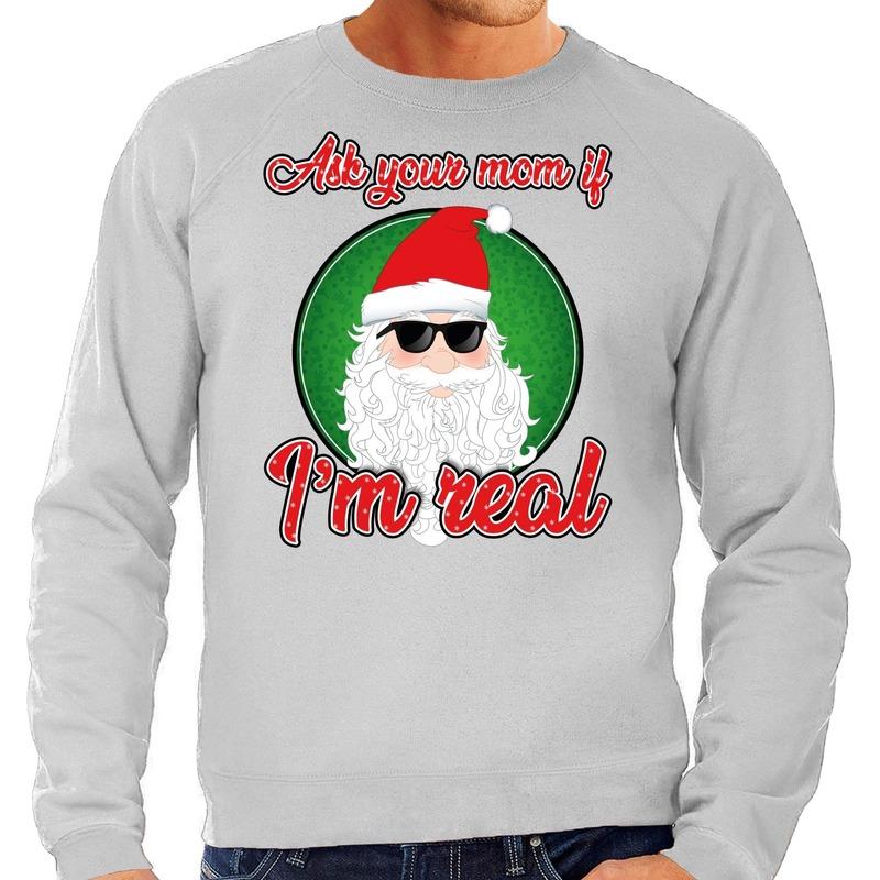 Foute kerstborrel trui / kersttrui ask your mom grijs voor heren S (48) Grijs