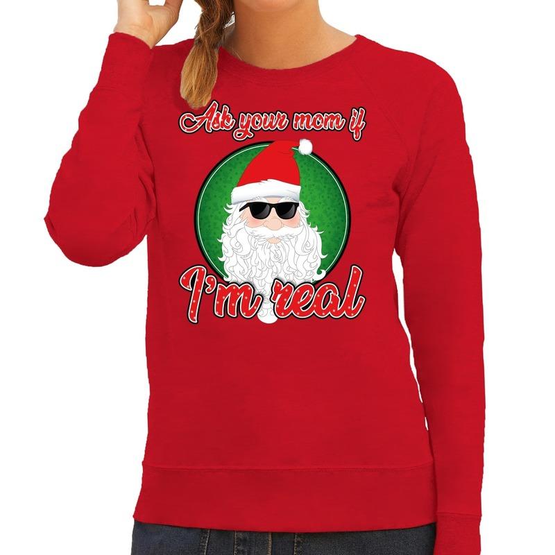 Foute kerstborrel trui - kersttrui Ask your mom rood voor dames 2XL (44) Rood