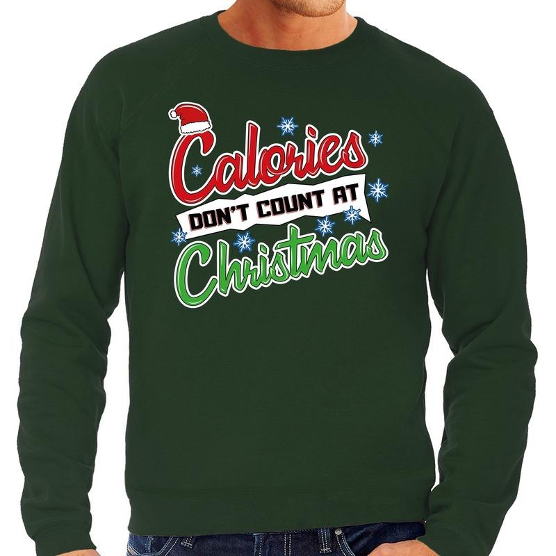 Foute kerstborrel trui - kersttrui Calories don't count at christmas groen voor heren 2XL (56) Groen