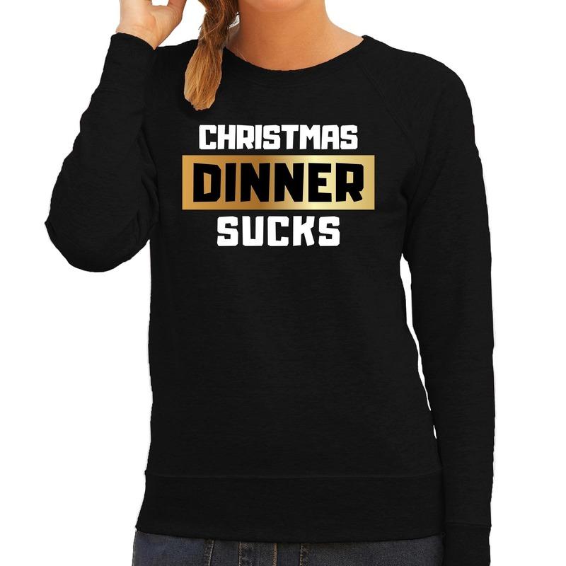 Foute kerstborrel trui / kersttrui Christmas dinner sucks zwart voor dames 2XL (44) Zwart