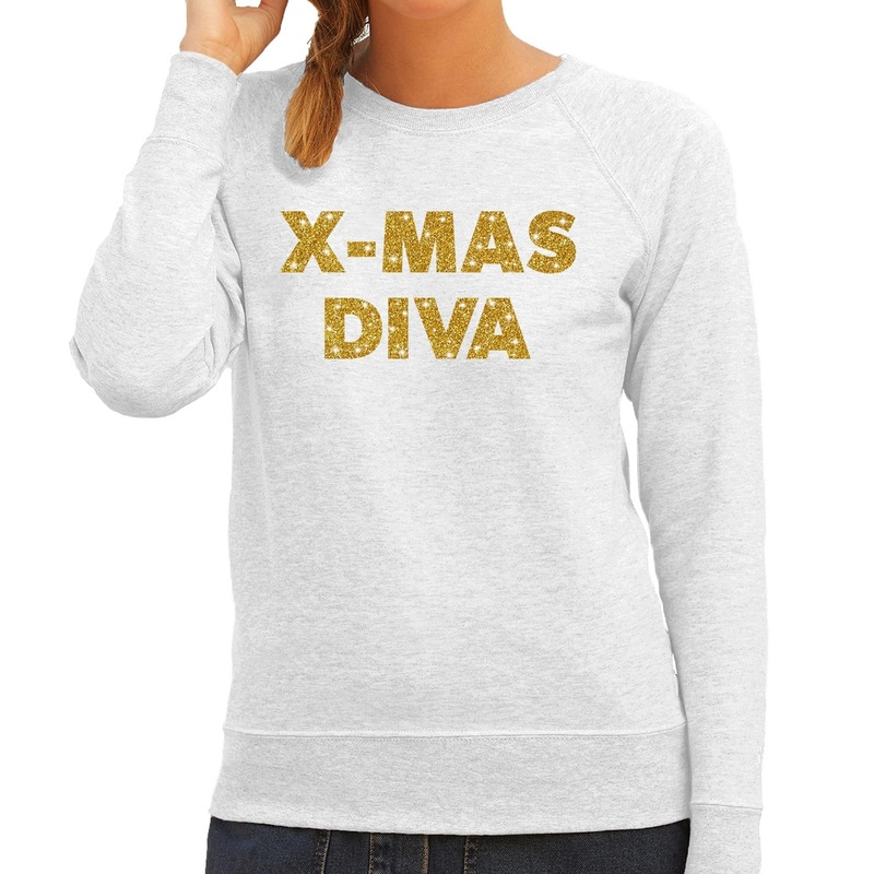 Foute kerstborrel trui / kersttrui Christmas Diva goud / grijs dames L (40) Grijs