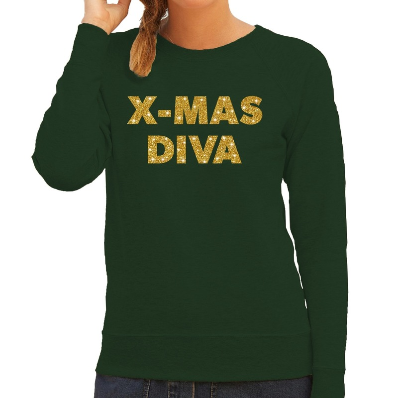 Foute kerstborrel trui / kersttrui Christmas Diva goud / groen dames 2XL (44) Groen