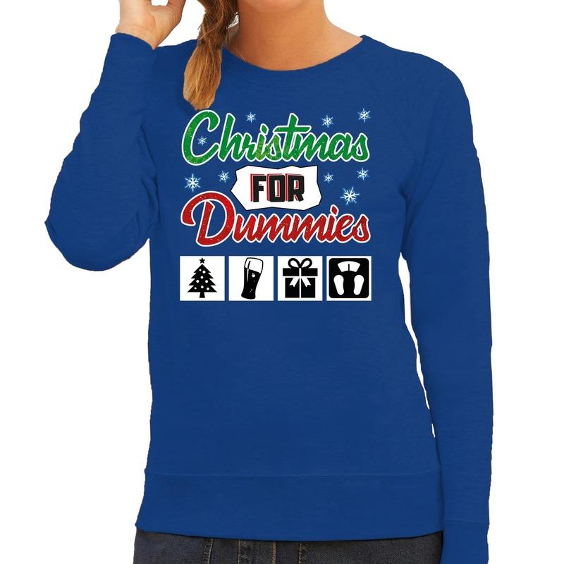 Foute kerstborrel trui - kersttrui Christmas for dummies blauw voor dames M (38) -