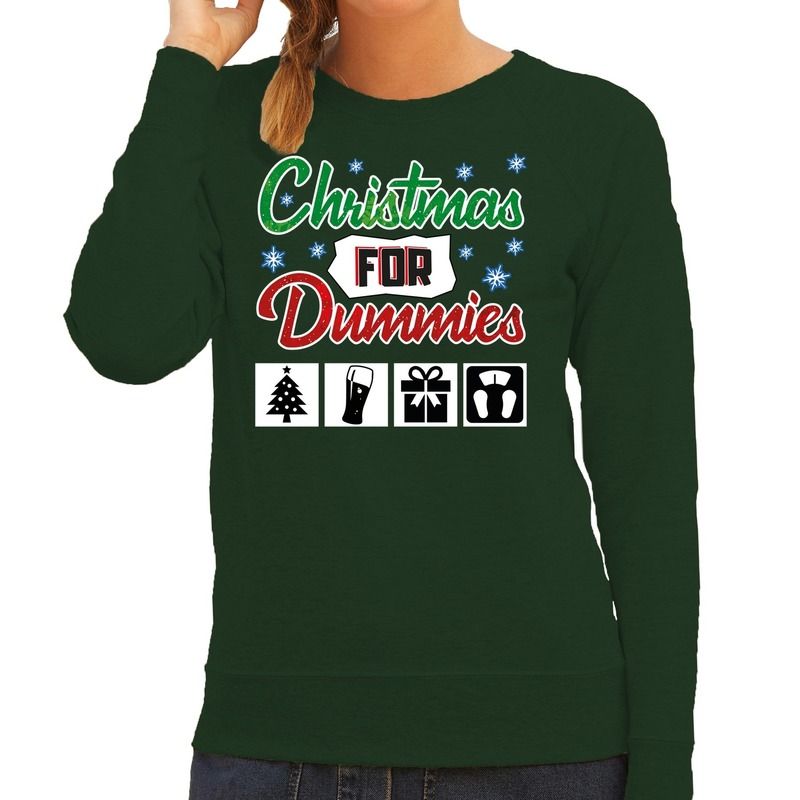 Foute kerstborrel trui - kersttrui Christmas for dummies groen voor dames 2XL (44) -