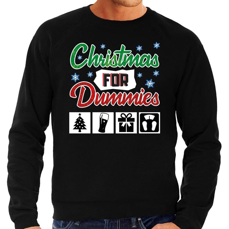 Foute kerstborrel trui - kersttrui Christmas for dummies zwart voor heren L (52) -
