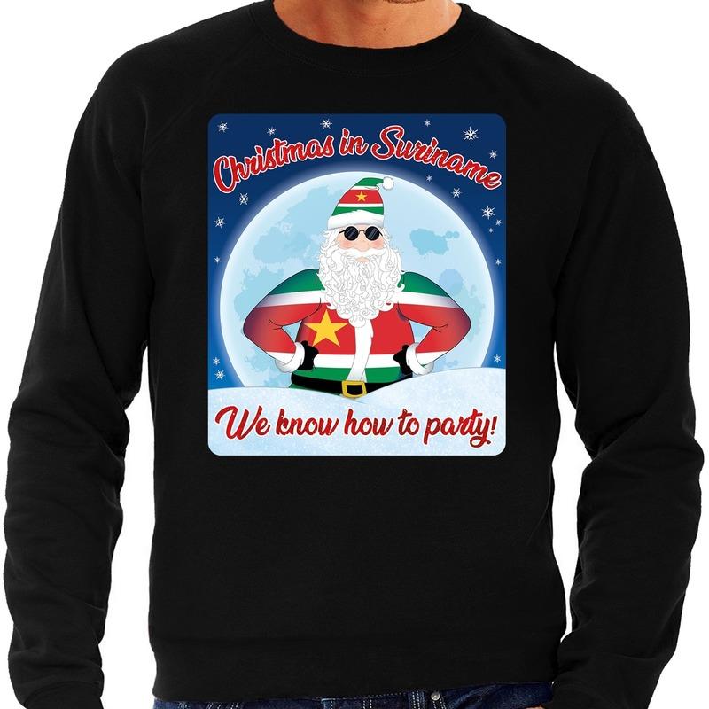 Foute kerstborrel trui / kersttrui christmas in Suriname zwart voor heren S (48) Zwart