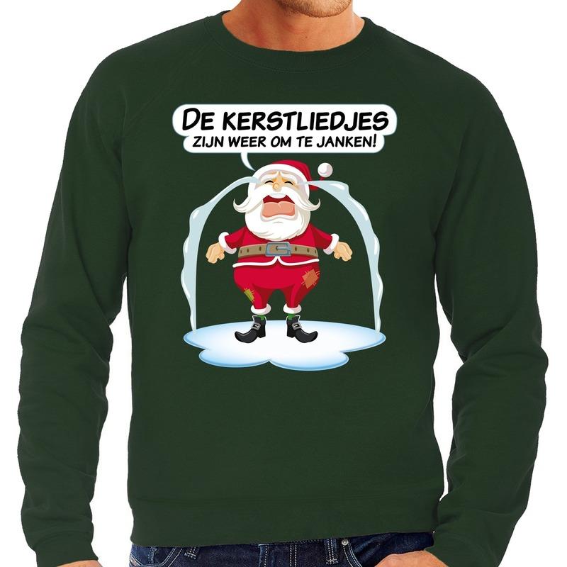 Foute kerstborrel trui / kersttrui de kerstliedjes zijn om te janken voor heren 2XL (56) Groen
