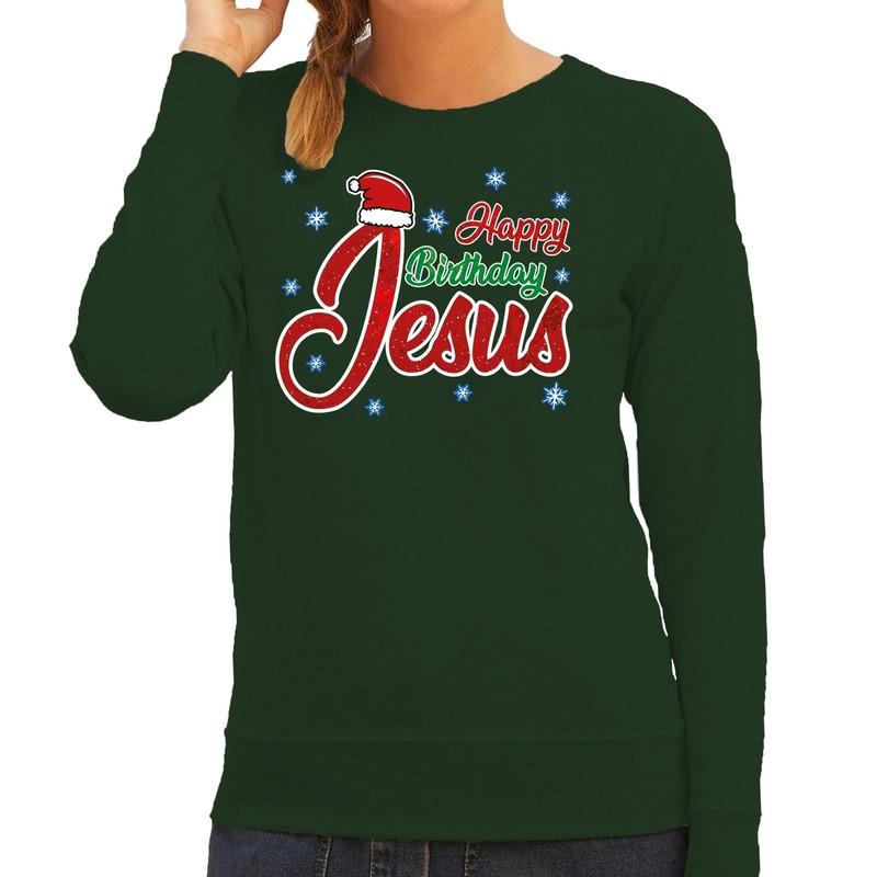 Foute kerstborrel trui / kersttrui Happy Birthday Jesus / Jezus groen voor dames 2XL (44) Groen