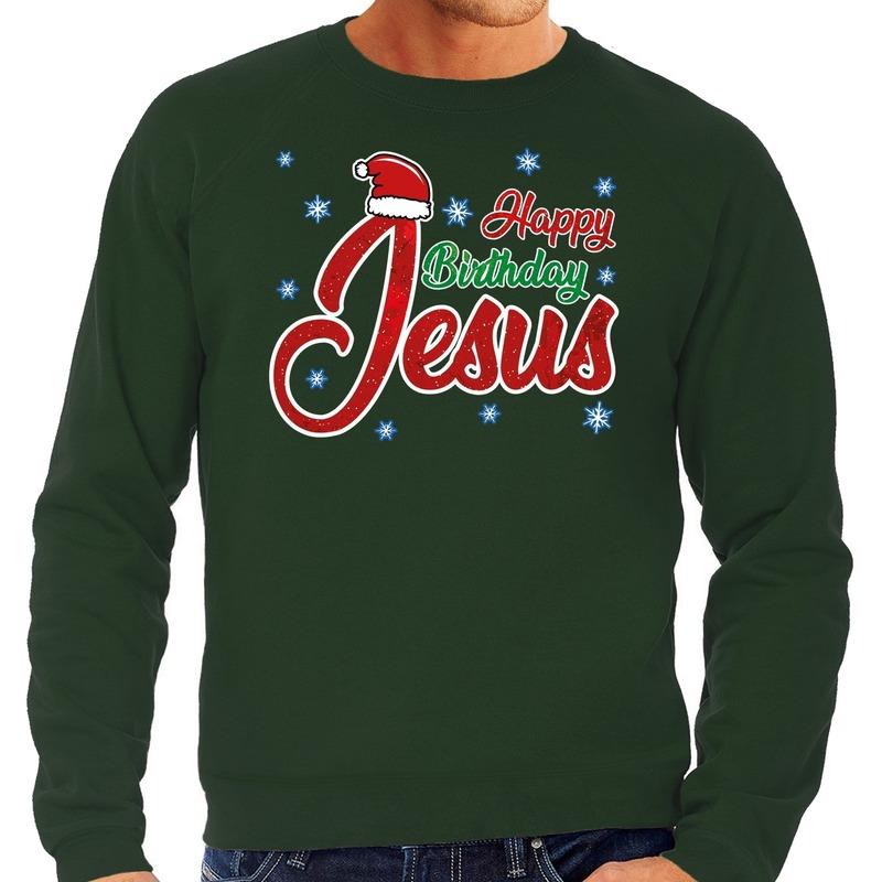 Foute kerstborrel trui / kersttrui Happy Birthday Jesus / Jezus groen voor heren M (50) Groen