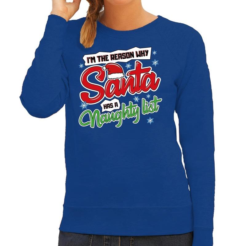 Foute kerstborrel trui / kersttrui kerstman stoute / ondeugende lijst blauw voor dames XL (42) Blauw