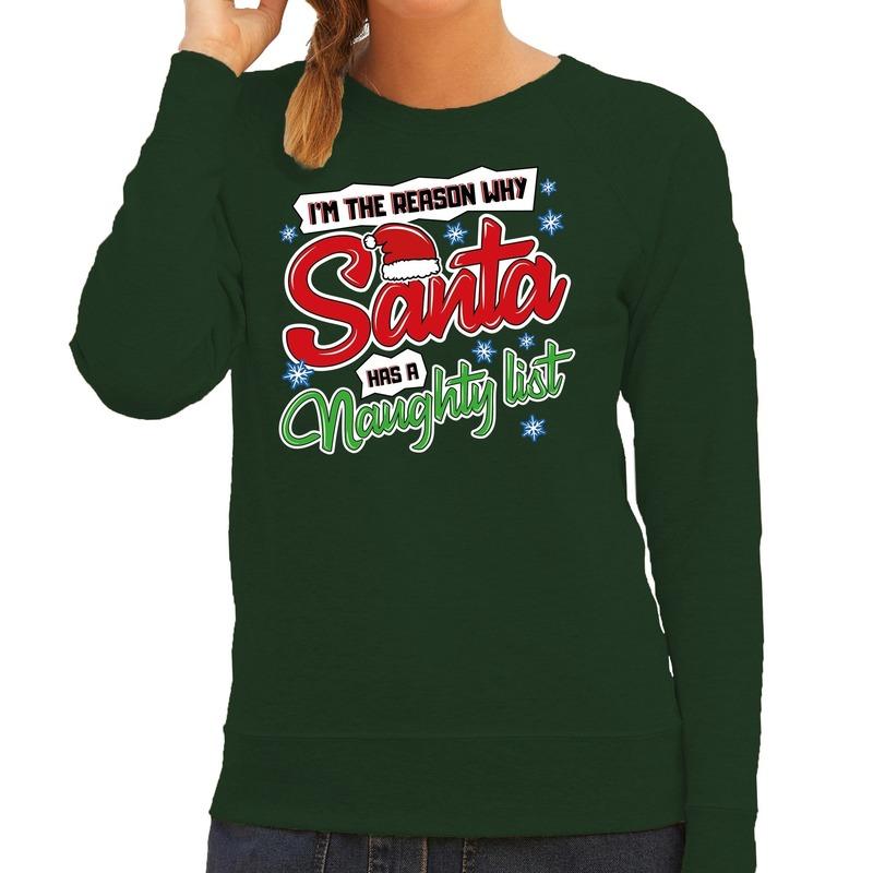 Foute kerstborrel trui / kersttrui kerstman stoute / ondeugende lijst groen voor dames XL (42) Groen
