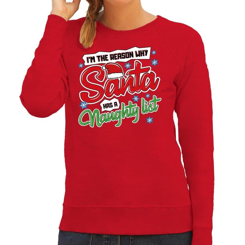 Foute kerstborrel trui / kersttrui kerstman stoute / ondeugende lijst rood voor dames XL (42) Rood