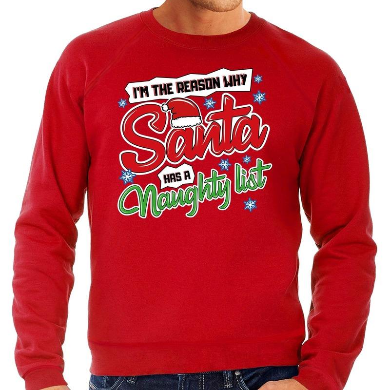 Foute kerstborrel trui / kersttrui kerstman stoute / ondeugende lijst rood voor heren XL (54) Rood