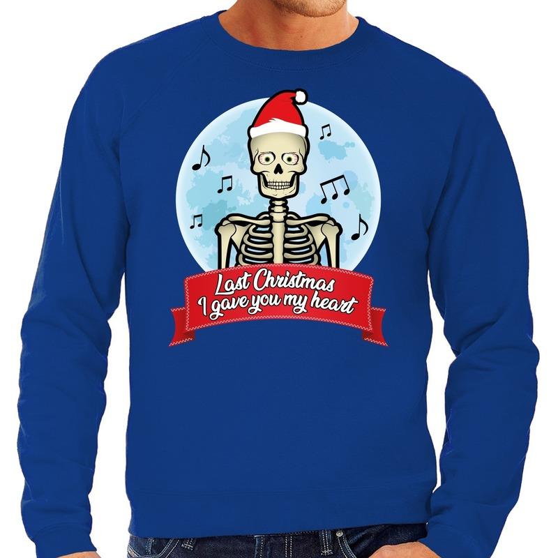 Foute kerstborrel trui / kersttrui Last Christmas I gave you my heart skelet blauw voor heren 2XL (56) Blauw