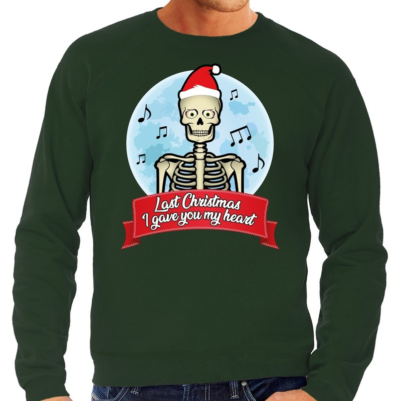 Foute kerstborrel trui / kersttrui Last Christmas I gave you my heart skelet groen voor heren L (52) Groen