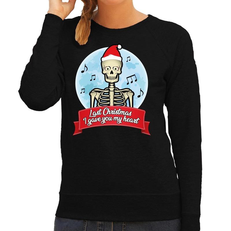 Foute kerstborrel trui / kersttrui Last Christmas I gave you my heart skelet zwart voor dames XL (42) Zwart