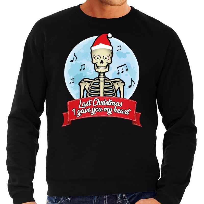Foute kerstborrel trui / kersttrui Last Christmas I gave you my heart skelet zwart voor heren L (52) Zwart
