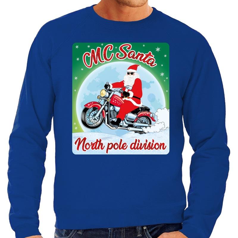 Foute kerstborrel trui / kersttrui MC Santa voor motorrijders blauw voor heren XL (54) Blauw