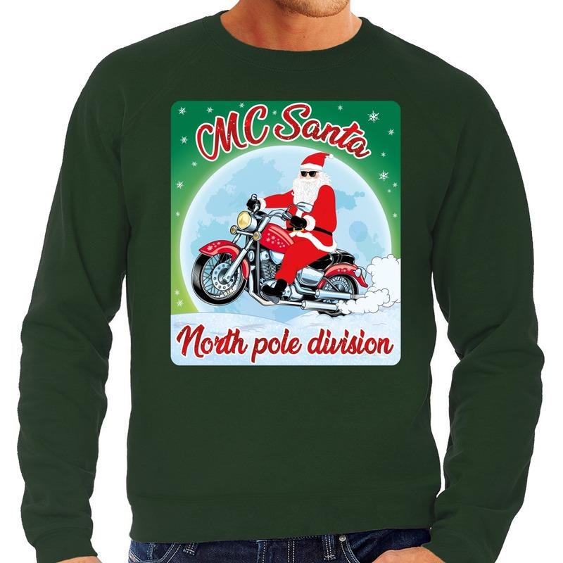Foute kerstborrel trui / kersttrui MC Santa voor motorrijders groen voor heren L (52) Groen