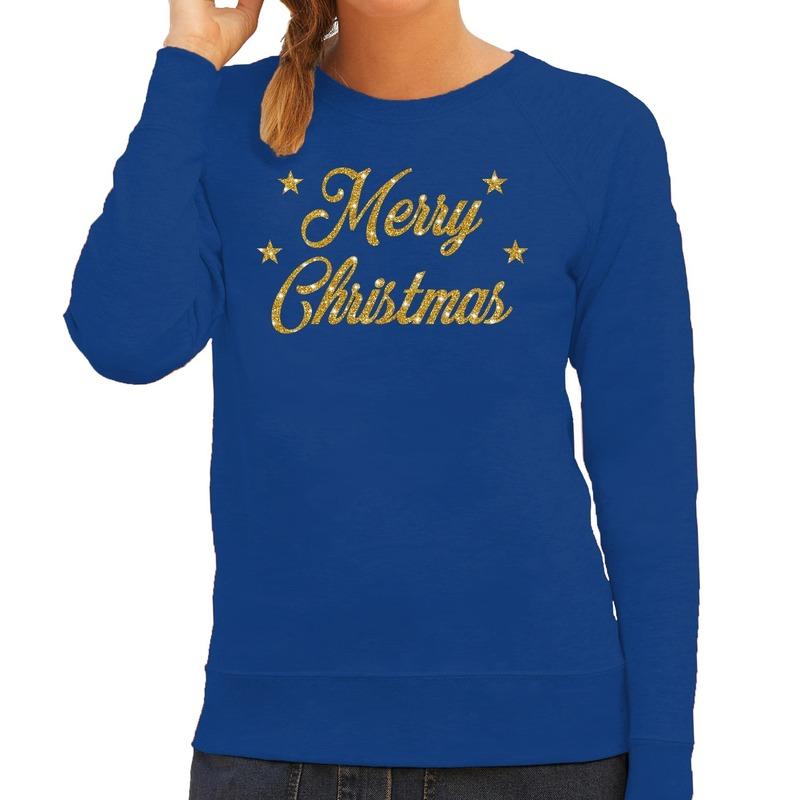 Foute kerstborrel trui / kersttrui Merry Christmas goud / blauw dames XS (34) Blauw