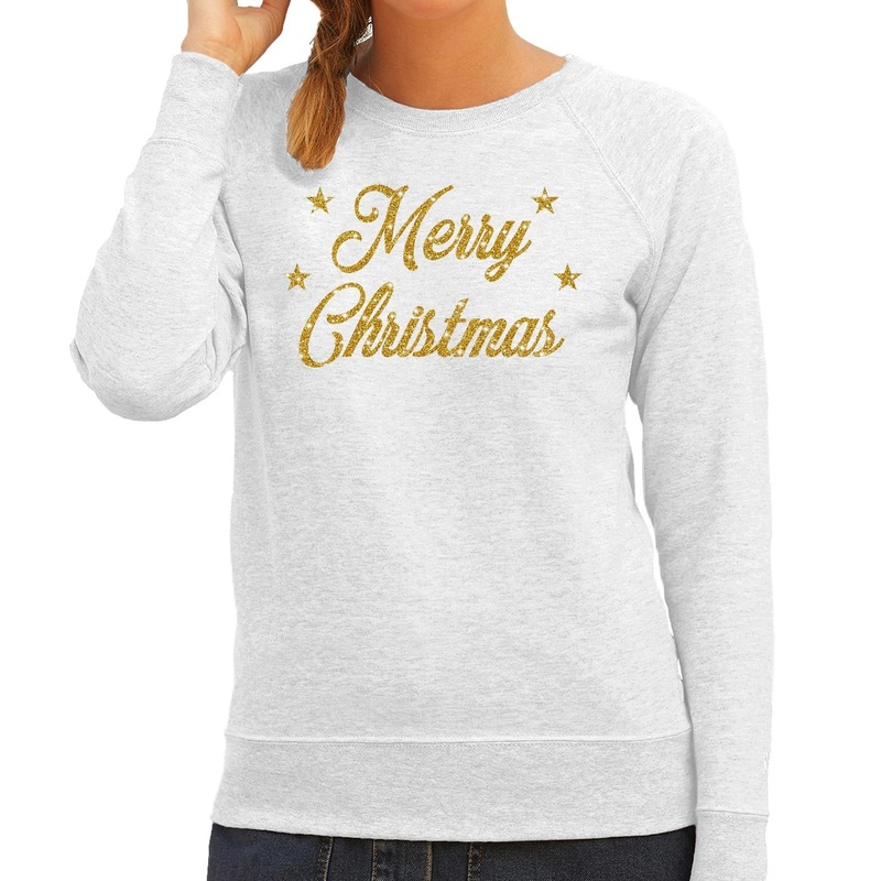 Foute kerstborrel trui / kersttrui Merry Christmas goud / grijs dames XL (42) Grijs