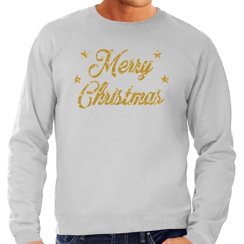 Foute kerstborrel trui / kersttrui Merry Christmas goud / grijs heren S (48) Grijs